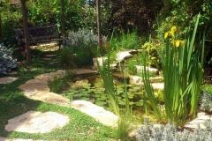 גינה יפה ללא דשא - בריכת נוי, ספסל וסוכה בגינה יפה