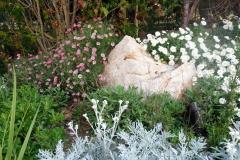 גינה יפה ללא דשא - סלע מוקף פריחה