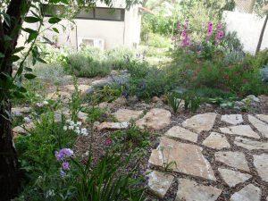 עיצוב גינות - גינת כרמל באביב - מבט מרחבה עליונה על הגינה לגינה